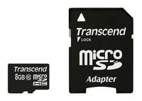 Флеш карта microSDHC 8Gb Class10 Transcend TS8GUSDHC10 + adapter