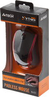 Мышь A4 V-Track Padless N-400-2 черный/красный оптическая (1000dpi) USB (2but)