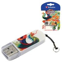 Флеш Диск Verbatim 8Gb Store n Go Mini Tattoo Phoenix 49883 USB2.0 белый/рисунок