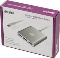 Разветвитель USB-C Hiper C4 4порт. серебристый