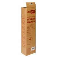 Сетевой фильтр PC Pet AP01006-E-GR 1.8м (5 розеток) серый (пакет ПЭ)