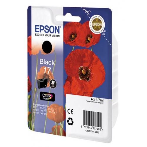 Картридж струйный Epson T1701 C13T17014A10 черный (4.7мл) для Epson XP33/203/303