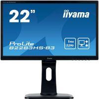 "Монитор Iiyama 21.5"" ProLite B2283HS-B3 черный TN+film LED 1ms 16:9 HDMI M/M матовая HAS Pivot 1000:1 250cd 170гр/160гр 1920x1080 D-Sub DisplayPort FHD 4.8кг"