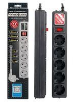 Сетевой фильтр Powercube SPG-B-15-BLACK 5м (5 розеток) черный (коробка)