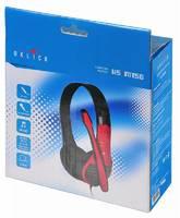 Наушники с микрофоном Oklick HS-M150 черный/красный 2м накладные оголовье (NO-003N)