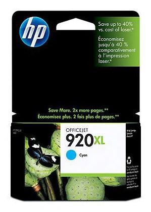 Картридж струйный HP 920XL CD972AE голубой для HP OJ 6000/6500