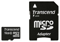 Флеш карта microSDHC 16Gb Class10 Transcend TS16GUSDHC10 + adapter