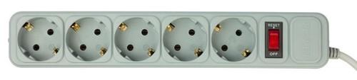 Сетевой фильтр PC Pet AP01006-5-GR 5м (5 розеток) серый (пакет ПЭ)