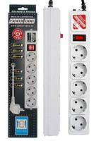 Сетевой фильтр Powercube SPG-B-6 1.9м (5 розеток) серый (коробка)