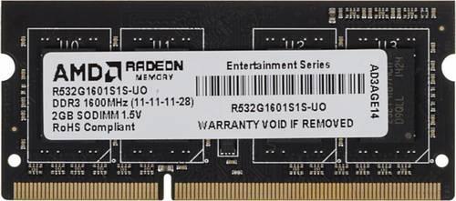 Память DDR3 2Gb 1600MHz AMD R532G1601S1S-UO OEM PC3-12800 CL11 SO-DIMM 204-pin 1.5В