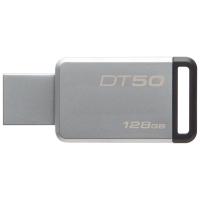 Флеш Диск Kingston 128Gb DataTraveler 50 DT50/128GB USB3.1 серебристый/черный
