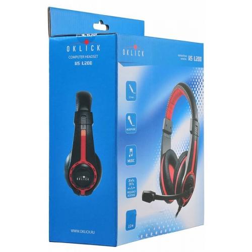 Наушники с микрофоном Oklick HS-L200 черный/красный 2м мониторы оголовье (Y-819)