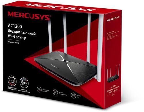 Роутер беспроводной Mercusys AC12 AC1200 10/100BASE-TX черный