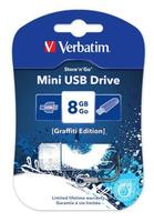 Флеш Диск Verbatim 8Gb Store n Go Mini Graffiti 98162 USB2.0 синий/рисунок