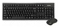 Клавиатура + мышь A4 3100N клав:черный мышь:черный USB беспроводная