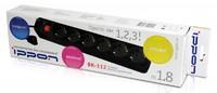Сетевой фильтр Ippon BK112 1.8м (6 розеток) черный (коробка)