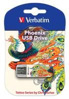 Флеш Диск Verbatim 16Gb Store n Go Mini Tattoo Edition Phoenix 49887 USB2.0 белый/рисунок