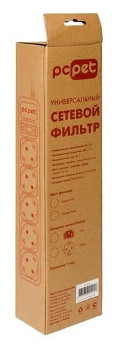 Сетевой фильтр PC Pet AP01006-E-BK 1.8м (5 розеток) черный (пакет ПЭ)
