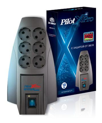 Сетевой фильтр Pilot X-Pro 1.8м (6 розеток) серый (коробка)