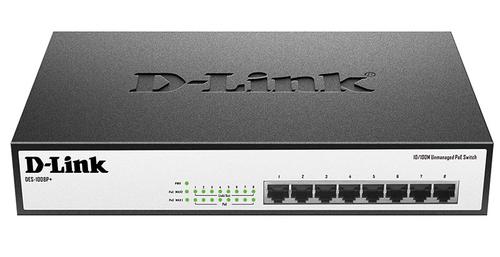 Коммутатор D-Link DES-1008P+/A1A 8x100Mb 8PoE 140W неуправляемый
