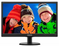 "Монитор Philips 18.5"" 193V5LSB2 (10/62) черный TN+film LED 5ms 16:9 матовая 10000000:1 200cd 1366x768 D-Sub 2.15кг"